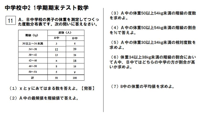 中2数学1学期期末大問10