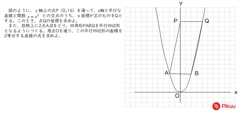 平行四辺形を二等分線する問題